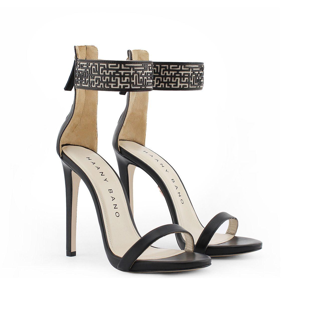 Xeneta Stiletto Sandals Black Pair Profile